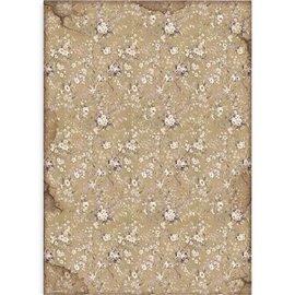 Papier de riz Stamperia 42x30cm Lady Vagabond fleurs blanches