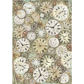 Papier de riz Stamperia 42x30cm Lady Vagabond Horloge et mécanismes