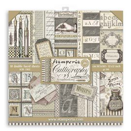 Papier scrapbooking assortiment Stamperia Calligraphie 10f recto verso 30x30
