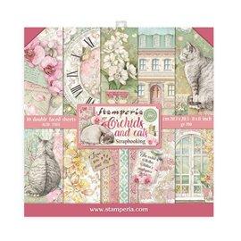 Papier scrapbooking assortiment Stamperia 10f recto verso 20x20 Orchidées et chats
