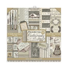 Papier scrapbooking assortiment Stamperia 10f recto verso 20x20 Calligraphie