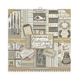 Papier scrapbooking assortiment Stamperia 10f recto verso 20x20 Calligraphie