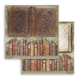 Papier scrapbooking réversible Stamperia doube face 30x30 Lady Vagabond livres vintage