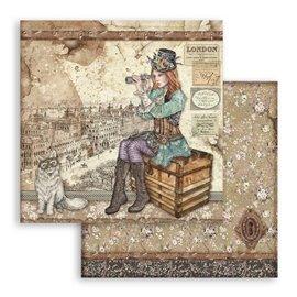 Papier scrapbooking réversible Stamperia doube face 30x30 Lady Vagabond et Chat