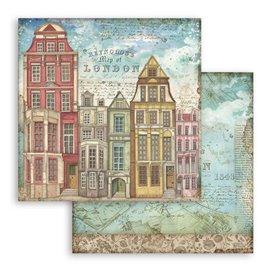 Papier scrapbooking réversible Stamperia doube face 30x30 Lady Vagabond Maisons de Londres