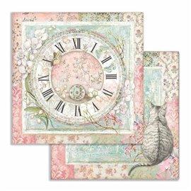 Papier scrapbooking réversible Stamperia doube face 30x30 Horloge et chat