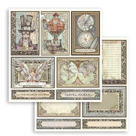 Papier scrapbooking réversible Stamperia doube face 30x30 Sir Vagabond cartes