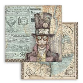 Papier scrapbooking réversible Stamperia doube face 30x30 Sir Vagabond