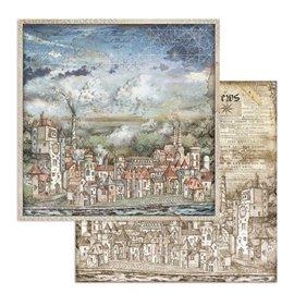 Papier scrapbooking réversible Stamperia doube face 30x30 Sir Vagabond paysage urbain