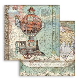 Papier scrapbooking réversible Stamperia doube face 30x30 Sir Vagabond train volant