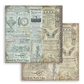 Papier scrapbooking réversible Stamperia doube face 30x30 Sir Vagabond Le voyageur