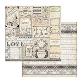 Papier scrapbooking réversible Stamperia doube face 30x30 Patchwork d'étiquettes