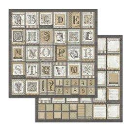 Papier scrapbooking réversible Stamperia doube face 30x30 Alphabet