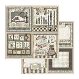 Papier scrapbooking réversible Stamperia doube face 30x30 Cartes de calligraphie