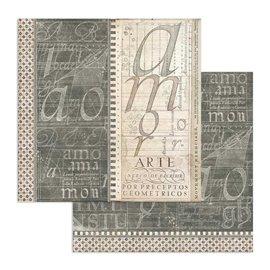 Papier scrapbooking réversible Stamperia doube face 30x30 Livre de calligraphie