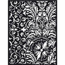Pochoir décoratif Stamperia Sir Vagabond papier peint et boussole 15x20cm