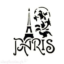 Pochoir plastique Paris & Tour Eiffel 16x16cm