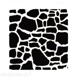Pochoir plastique mur de pierres 16x16cm