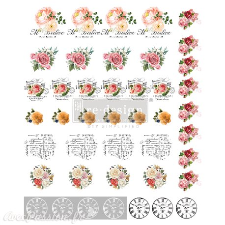 Transfert pelliculable Redesign Bouton Vintage Rose 22.86x27.94cm