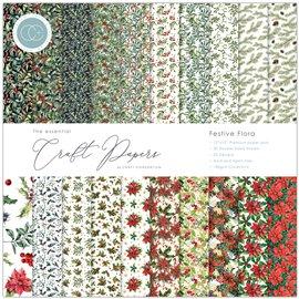 Papier scrapbooking assortiment Festive Flora 30fe 30x30
