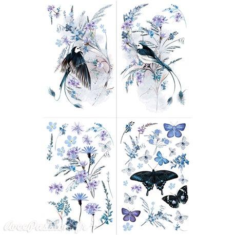 Transfert pelliculable Hokus Pokus Décalcomanie Oiseau Blue