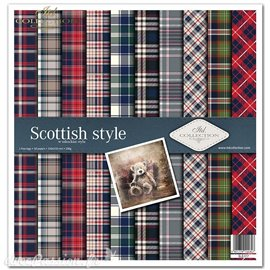 Papier scrapbooking Scottish style assortiment 1 tag + 10 feuilles 30x30