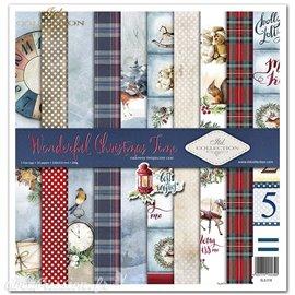 Papier scrapbooking Wonderful Christmas Time assortiment 1 tag + 10 feuilles 30x30