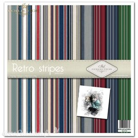 Papier scrapbooking Retro stripes assortiment 1 tag + 10 feuilles 30x30