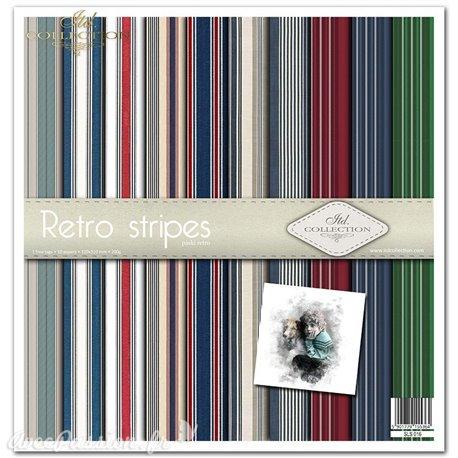 Papier scrapbooking Retro stripes assortiment 1 tag + 10 feuilles 30x30
