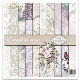 Papier scrapbooking English Roses assortiment 1 tag + 10 feuilles 30x30