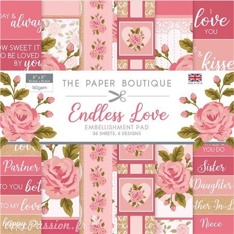 The Papier scrapbooking Paper Boutique Endless love embellishments pad