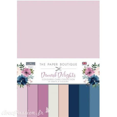 Papier scrapbooking Paper Boutique A4 Damask delights colour card collection
