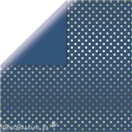 Papier scrapbooking echo park bleu points dorés 30x30