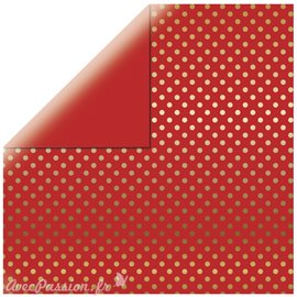 Papier scrapbooking echo park rouge points dorés 30x30