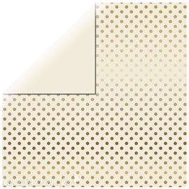 Papier scrapbooking echo park ivoire points dorés 30x30