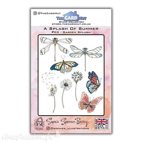 Tampon clear stamps The Card Hut Garden Splash  19 tampons  A5