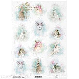 Papier de riz lapins fleuris A4