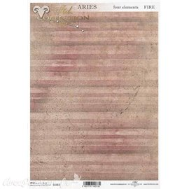 Papier de riz rayures roses A4