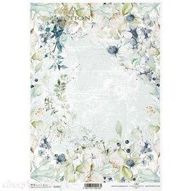 Papier de riz fond fleurs bleues II A4