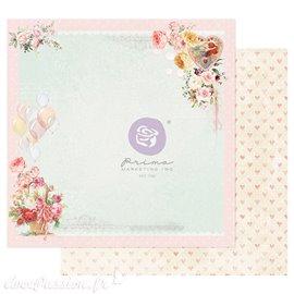 Papier scrapbooking Prima Magic Love on a pink cloud avec dorure