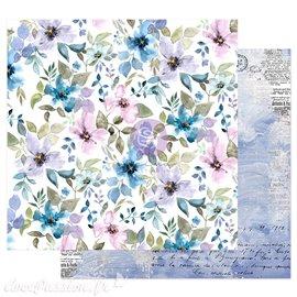 Papier scrapbooking Prima Watercolor Floral in the water garden avec dorure