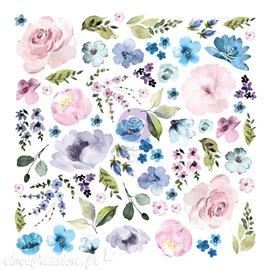 Prima Watercolor Floral ephemera 62 pcs avec dorure