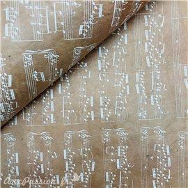 Papier népalais lokta lamaLi notes de musiques blanc sur nude