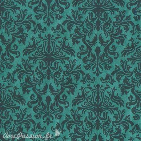 Papier népalais lokta lamaLi Lord gris sur turquoise