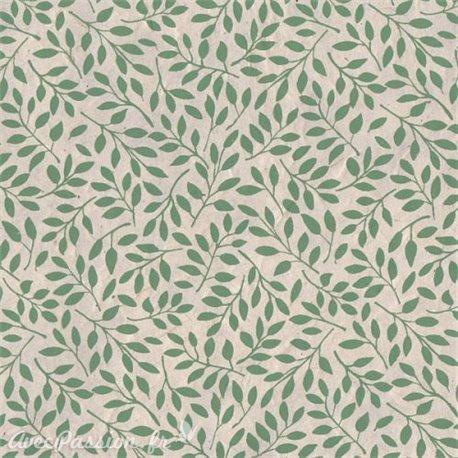 Papier népalais lokta lamaLi Saule feuilles vertes sur naturel