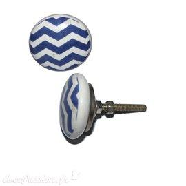 Bouton de porte céramique blanc rayures diagonales bleues foncées