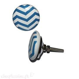 Bouton de porte céramique blanc rayures diagonales bleus