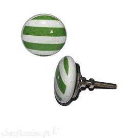 Bouton de porte céramique blanc lignes vertes
