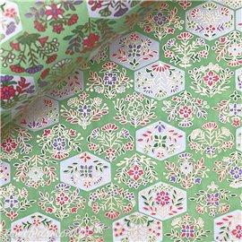 Papier japonais chiyogami fleurs fond vert
