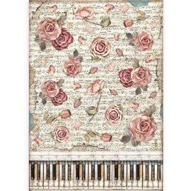 Papier de riz Stamperia A3 Passion roses et piano